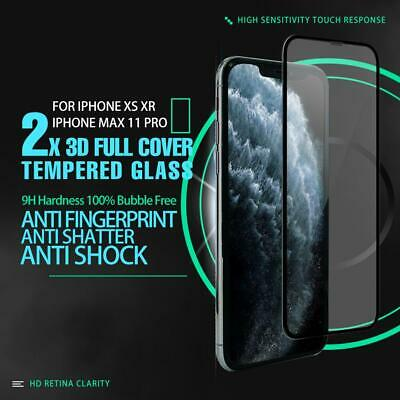 AU4.99 • Buy 2x 3D 9H Full Cover Tempered Glass Screen Protector For IPhoneX XS XR 11 Pro Max
