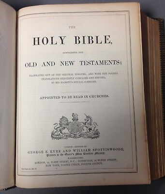 The Holy Bible - Published By G.E. Eyre And William Spottiswoode (Victorian) • 55£