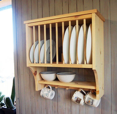 Kitchen Plate Rack Shelf, Solid Pine Wood, Wall Mounted Wooden ! • 46.90£