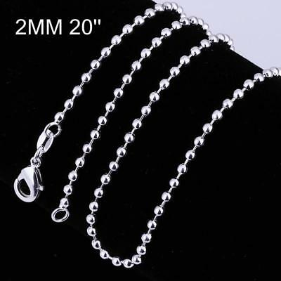 1strand Brass Ball Chain Necklace Making With Lobster Claw Clasps Silver 20  • 2.79£