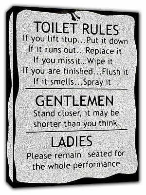 Toilet Rules Bw Picture Photo  Print On Framed Canvas Wall Art Bathroom Decor • 10.49£