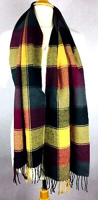 $25 • Buy Cashmere Scarf Plaid Fringed Burgundy, Gold, Gray,65  Long 12  Wide Scotland