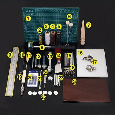 42 Pcs Leather Craft Tools Kit DIY Sewing Stitching Punch Carving Working Saddle • 25.99£