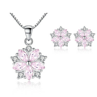 Crystal Pendant Necklace 925 Sterling Silver Stud Earrings Womens Jewellery Gift • 3.99£