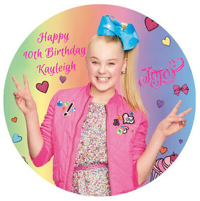 AU12.95 • Buy JOJO Siwa Personalised Edible Wafer Birthday Party Cake Decoration Topper Image