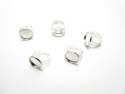 £1.95 • Buy Silver Plated Adjustable Round Ring Blank Setting Fits 16 Mm For Cabochon Resin