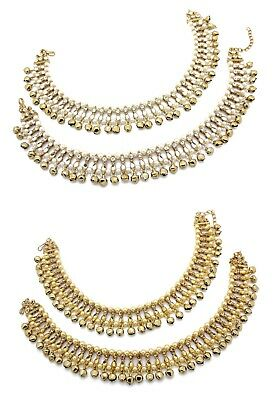 £19.99 • Buy Antique Gold Silver Ankle Chain Anklet Indian Payal Foot Bollywood With Bells