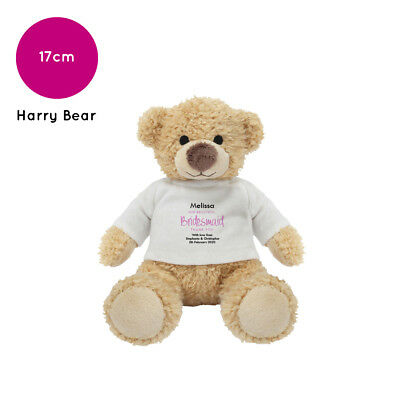 £9.48 • Buy Personalised Name Bridesmaid Harry Teddy Bear Wedding Favour Thank You Gift