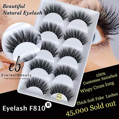 💙NEW 5Pair 3D Mink False Eyelashes Wispy Cross Long Thick Soft Fake Eye Lashes  • 3.98£
