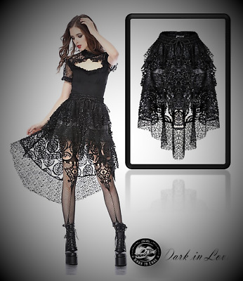 Dark In Love Luxury High Low Ruffle Black Short Party Skirt For Goth Punk Women • 40.14£