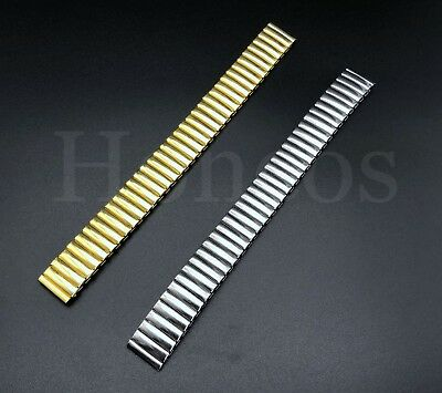 21ec7cbc887 12 - 22 MM Stretch Expansion Stainless Steel Watch Band Strap Bracelet Gold  USA • 6.99