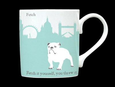 London Skyline Silhouette Turquoise Bull Dog Bone China Mug Caption Made Stoke • 11.52£