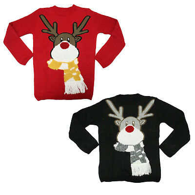 Kids 3D Novelty Rudolph Reindeer Scarf Christmas Jumper Boys Girls Sweater UK • 7.99£