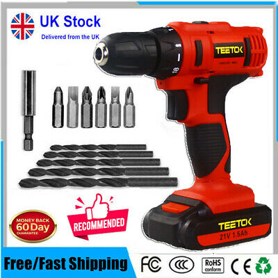 View Details 21V Cordless Combi Drill Dual Speed + Li-Ion Fast Charge Electric Screwdriver • 32.85£