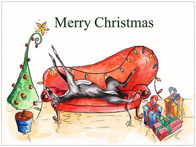 £4.45 • Buy Greyhound Lurcher Whippet Christmas Cards - Various Pack Sizes