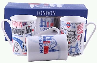 Tea Coffee Fine China Mugs London Porcelain Mug With Gift Box Set Of 3 Christmas • 11.99£