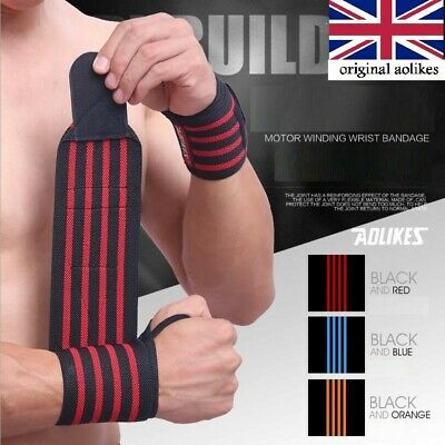 FDS Wrist Wraps Weight Lifting Training Gym Straps Support Grip Gloves • 5.99£