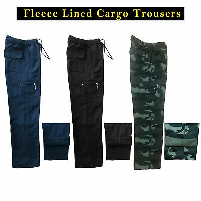 £10.99 • Buy Mens Fleece Lined Cargo Bottoms Winter Elasticated Work Trousers Combat Pants
