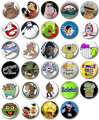 Kids Retro TV  25mm, 1  Button Badge,  Rainbow, Scooby, Roland Rat • 1.20£