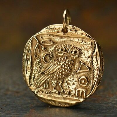 Ancient Coin Charm Owl Of Athena Bronze Greek Athena's Owl Gold Necklace B886 • 28.99£