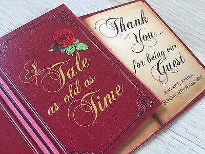 Wedding Guest Favour Card   Fairytale   Book Style   'A Tale As Old As Time' • 8.50£