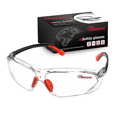 SAFEYEAR Anti-UV  Safety Glasses Clear Lens Anti-fog Scratchproof Work Goggles • 9.98£
