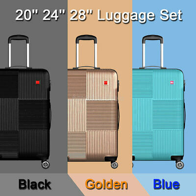 "View Details 3 Piece Luggage Sets Lightweight Durable Spinner Suitcase Carry On 20"" 24"" 28"" • 85.99$"