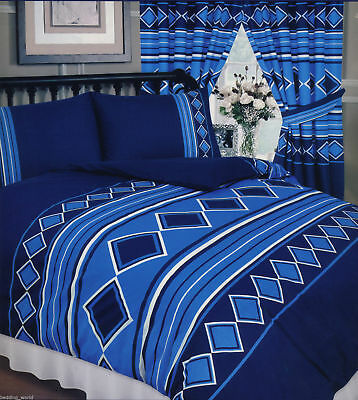 Men Only Nautical Blue Navy White Double King Size Duvet Cover Set Curtains • 22.99£