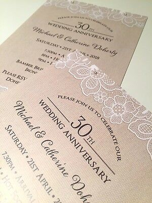 Rustic   Lace   Linen   Pearl   Wedding   Party   Birthday   Invitations  • 1.25£
