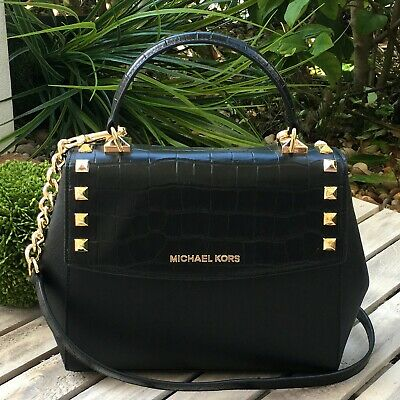 4f035f8c479c NWT Michael Kors KARLA Medium Top Handle Embossed Leather Satchel Crossbody  Bag • 99.99$
