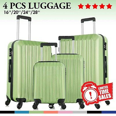 "View Details Set Of 4 Luggage Set ABS Lightweight Travel Hard Case Suitcase 16"" 20"" 24"" 28"" • 129.99$"