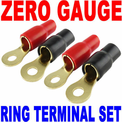 AU14.62 • Buy 0 Gauge Gold Ring Terminal 4 Pack 0 AWG Wire Crimp Red Black Boots 5/16  Stud