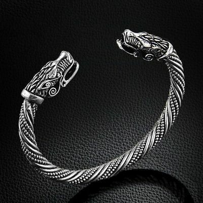 Wolf Head Bracelet Bangle Viking Jewelry Fashion Men Wristband Cuff Men Women S • 7.25£
