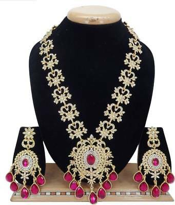 $19.99 • Buy Indian Bollywood Jewelry Wedding Bridal Fashion CZ Long Necklace Set  Hot Pink