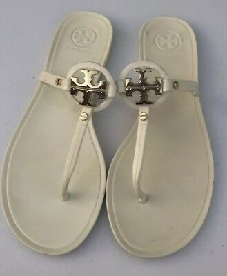 18695e8fa0c1 TORY BURCH Minnie Miller Jelly Thong Flip Flop Gold Logo Sandal Size 6M Toe   295 •