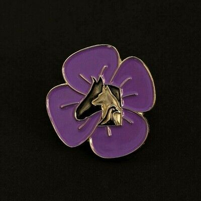 Purple Poppy  - Animals In War - Remembrance Badge - Silver                (p15) • 3.39£