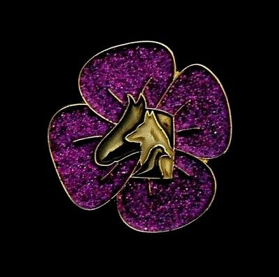 Purple Poppy Glitter  - Animals In War - Remembrance Badge - Gold          (p18) • 3.39£