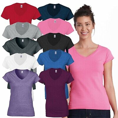 Gildan Softstyle Ladies V-Neck T-Shirt Casual Plain Soft Cotton Jersey Tee Shirt • 3.99£