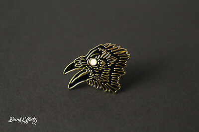 Dark Crow Head Pin Badge Gothic Black Metal Animal Brooch • 2.99£