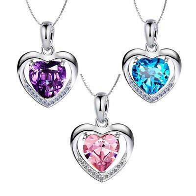 £3.99 • Buy 925 Sterling Silver Heart Crystal Stone Pendant Chain Necklace Womens Jewellery