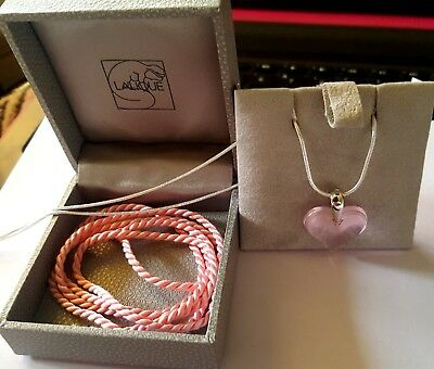 Lalique Pendant Crystal Pink Heart /silver 925  Chain And Silk Cord Outstanding • 129.99£