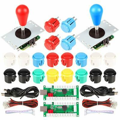 $32.88 • Buy 2 Player Arcade Joystick Buttons Kit  Red Blue Stick 20x Push Button Switch Mame