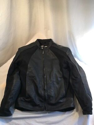 STREET & STEEL LEATHER ARMORED LINED Vent Padded Motorcycle Jacket Black Mens XS • 109.99$