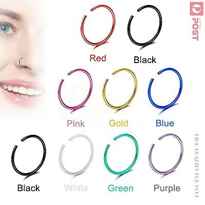 AU3.99 • Buy 3-10pcs X-Thin Nose Hoop Ring 22g Stud Surgical Steel Body Piercing Jewellery