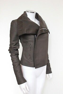 £1580 Rick Owens Classic Forever Brown Leather Jacket UK 8  • 575£