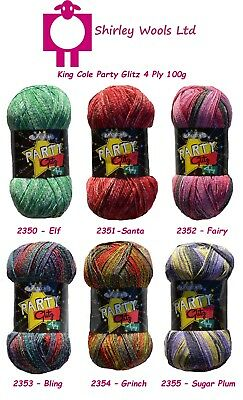 King Cole Party Glitz 4 Ply 100g Clearance Offer With Free Sock Pattern • 2.45£