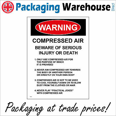 Warning Compressed Air Serious Injury Or Death Sign Ws726 Safety Sticker Rigid • 2.95£