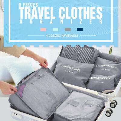 AU9.95 • Buy 6Pcs Packing Cubes Travel Pouches Luggage Organiser Clothes Suitcase Storage Bag