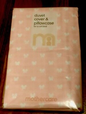 Mothercare Duvet Cover And Pillowcase Set Cot Bed Bnwt Pink Butterfly • 15£
