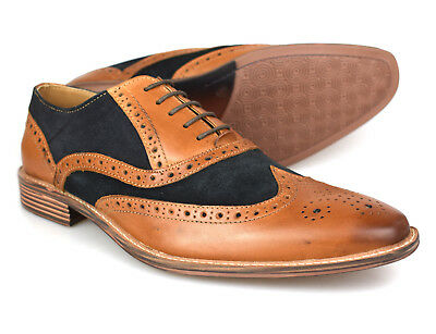 Premium Mens Two Tone Tan Leather Navy Suede Brogues 1829TD Free UK P&P! • 49.99£
